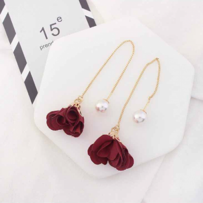 simple-small-fresh-flowers-earrings-maroon-02a010rs