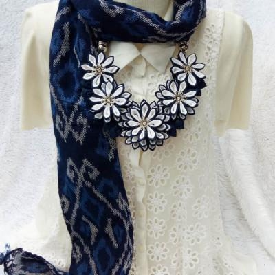 kalung-tenun-scarf-lotus-dark-blue