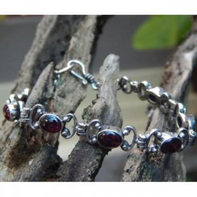 gelang-perak-motif-simpel-batu-garnet-cabuchon-100121