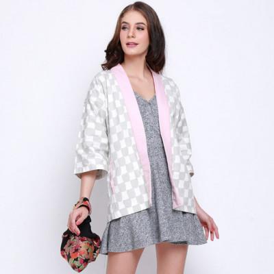 koinobori-grey-white-checkered-haori-outer-wanita