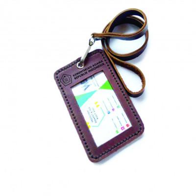 name-tag-id-kulit-asli-logo-kemenag-warna-coklat-garansi-1-tahun