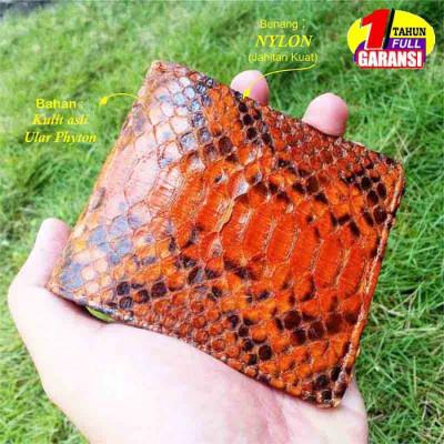 dompet-pria-kulit-asli-ular-phyton-warna-orange-garansi-1-tahun