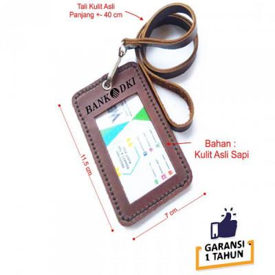 name-tag-id-kulit-asli-logo-bank-dki-warna-coklat-garansi-1-tahun