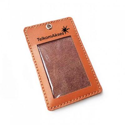 name-tag-kulit-asli-logo-telkom-akses-warna-tan-garansi-1-tahun-tali-id-card.-gantungan-id-card-