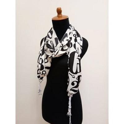gesyal-syal-travelling-number-box-silky-print-scarf-wanita-white-black