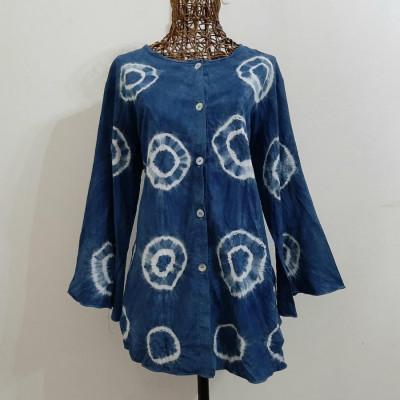 blouse-indigo-lengan-panjang-jumputan-bulat