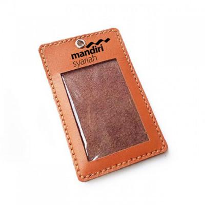 name-tag-id-kulit-asli-logo-mandiri-syariah-warna-tan-garansi-1-tahun-tali-id-card.-gantungan-id-card-