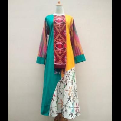 gamis-tenun-kombinasi-batik-capung