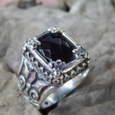 cincin-perak-batu-black-onyx-chekerboard-58803