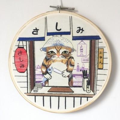 pajangan-hoop-sulam-koki-kucing
