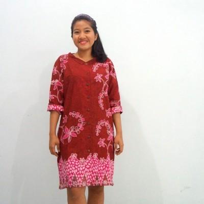 shirt-dress-batik-merah-all-size-gelintang