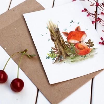 little-foxy-postcard-kartu-pos-ilustrasi