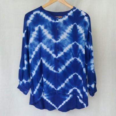 blouse-lengan-panjang-wanita-shibori-rayon-biru-terang