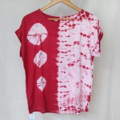 atasan-blouse-wanita-lengan-pendek-shibori-merah-marun