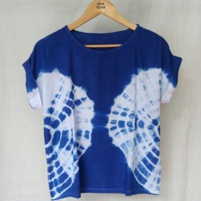blouse-lengan-pendek-wanita-shibori-biru-terang
