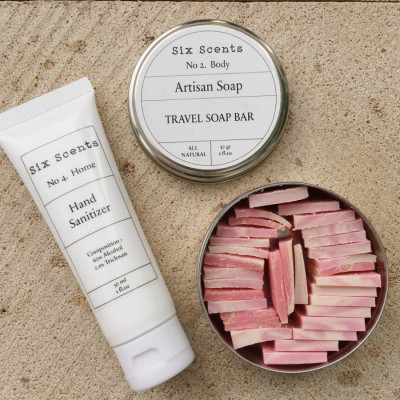 six-scents-donation-package-hand-sanitizer-travel-soap-bar