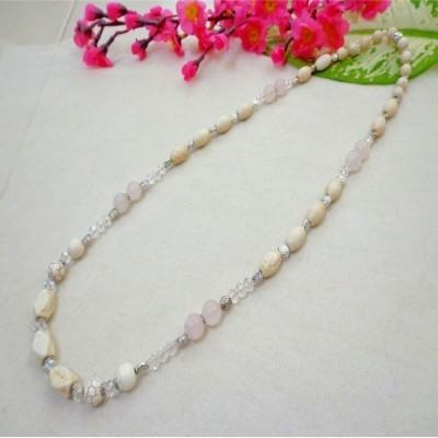 kalung-b017-batu-rose-quartz-hijau-turquois-putih-kristal-putih-panjang