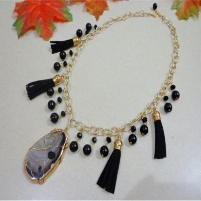 kalung-b033-batu-lake-superior-agate-black-agate-onyx-app-tassel-crystal