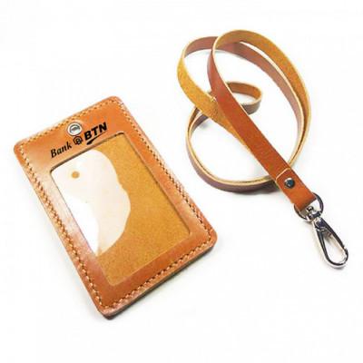 name-tag-id-kulit-asli-logo-bank-btn-warna-tan-garansi-1-tahun-tali-id-card.-gantungan-id-card-