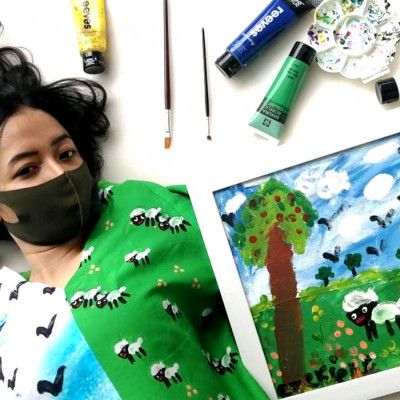 blouse-lukis-eco-twill-kolaborasi-ezekiel