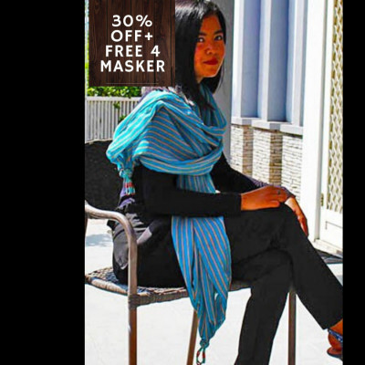 gesyal-scarf-travelling-wanita-monochrome-stripe-voile-biru