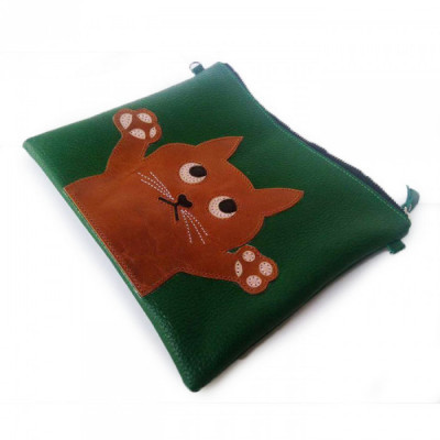 clucth-handbag-kulit-asli-warna-hijau-karakter-kucing-garansi-1-tahun