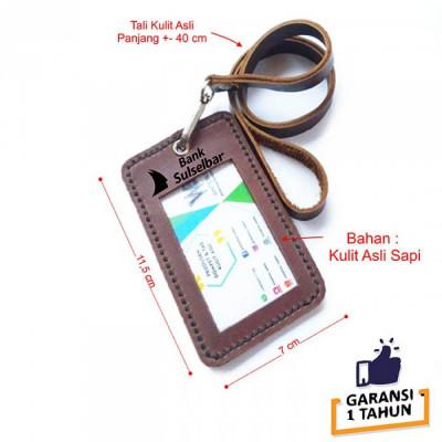 name-tag-id-kulit-asli-logo-bank-sulselbar-warna-coklat-garansi