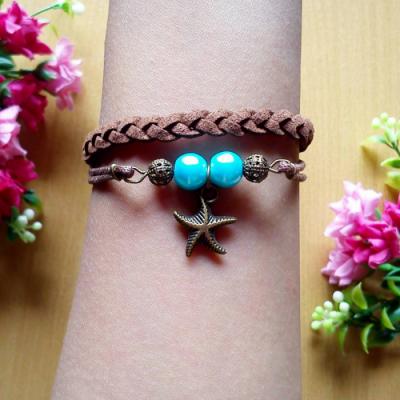 gelang-starfish-suede-coklat
