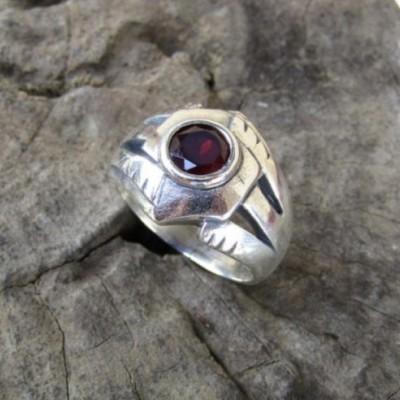 cincin-perak-925-motif-simpel-batu-garnet-100334