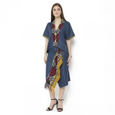 gesyal-setelan-batik-wanita-dress-batik-modern-dress-tenun-baju-kondangan-terusan-dress-midi-wanita
