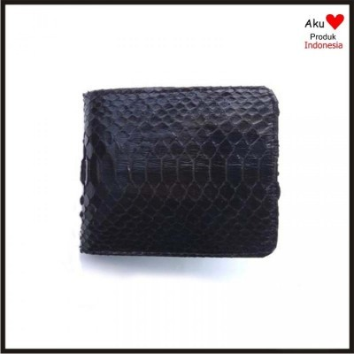 dompet-pria-kulit-asli-ular-phyton-warna-hitam-model-bifold