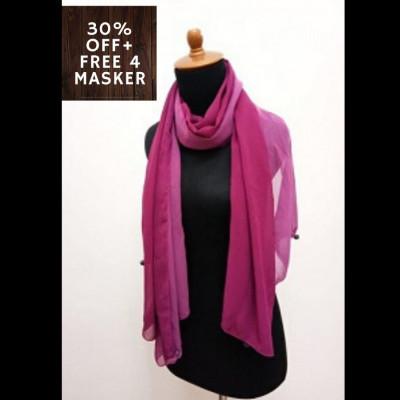 gesyal-bolak-balik-reversible-sifon-scarf-travelling-wanita-fuschia-pinkish