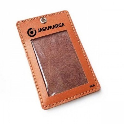 name-tag-id-kulit-asli-logo-jasa-marga-warna-tan-tali-id-card.-gantungan-id-card-