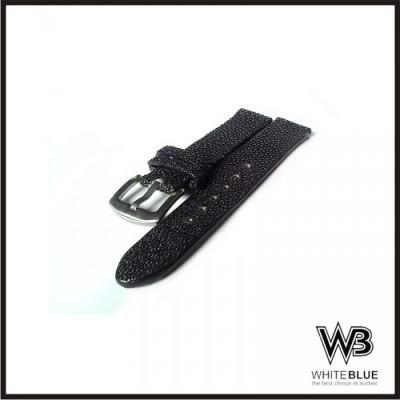 tali-jam-tangan-strep-jam-kulit-asli-ikan-pari-warna-hitam-handmade